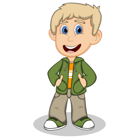 denim jacket: Little boy wearing a green jacket and gray trousers style cartoon Illustration