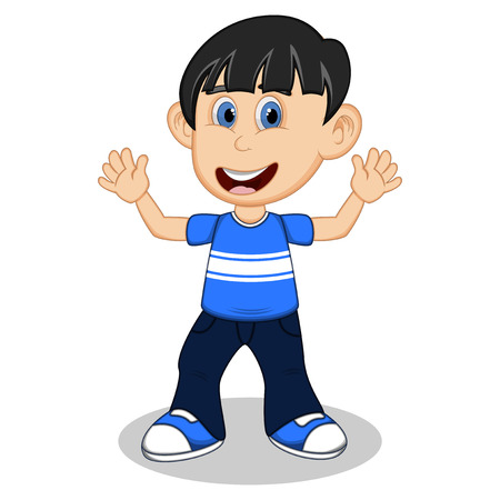 uncomfortable: Little boy with blue shirt and dark blue trousers waving his hand cartoon