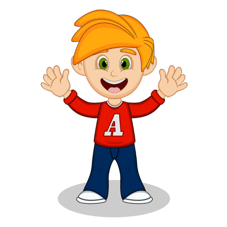 uncomfortable: Little boy with red long sleeved shirt and blue trousers waving his hand cartoon