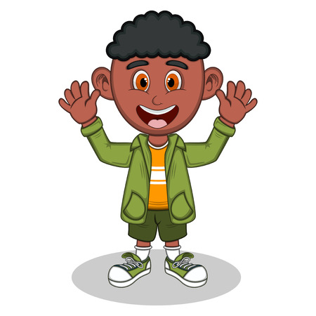 youthful: Little boy with green jacket and green trousers waving his hand cartoon