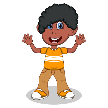 brown shirt: Little boy with yellow shirt and brown trousers waving his hand cartoon