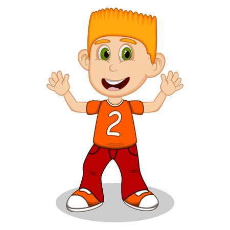 uncomfortable: Little boy with orange shirt and red trousers waving his hand cartoon Illustration