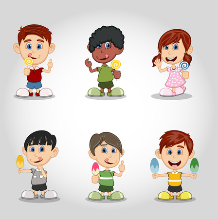 hungry kid: Set of children eating candy and ice cream cartoon