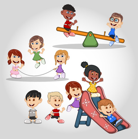 Children playing jumping rope, seesaw and slides cartoon Illustration