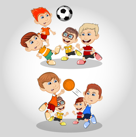Children playing soccer and basketball cartoon