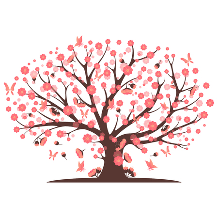 copy text: Decorative pink tree