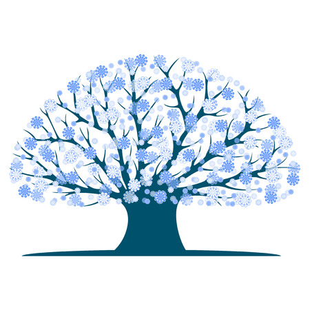 Decorative blue tree silhouette