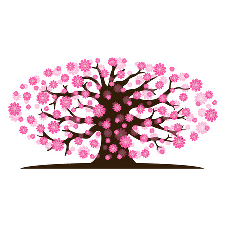 Decorative beautiful cherry blossom tree