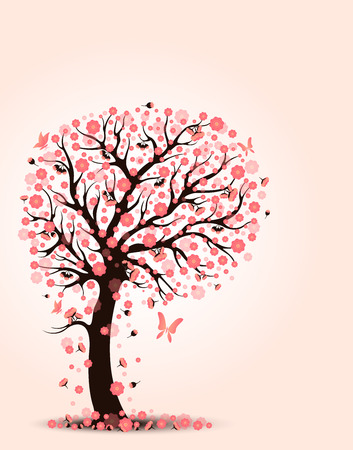 Decorative beautiful cherry blossom with background Illustration