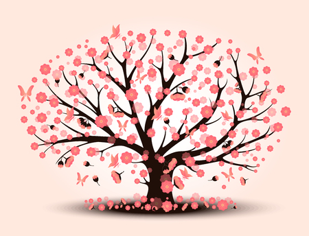 Decorative beautiful cherry blossom with background tree