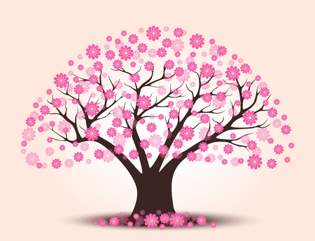 Decorative beautiful cherry blossom tree with background