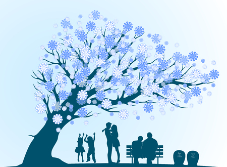 tenager: People cycle of life with decorative blue tree silhouette
