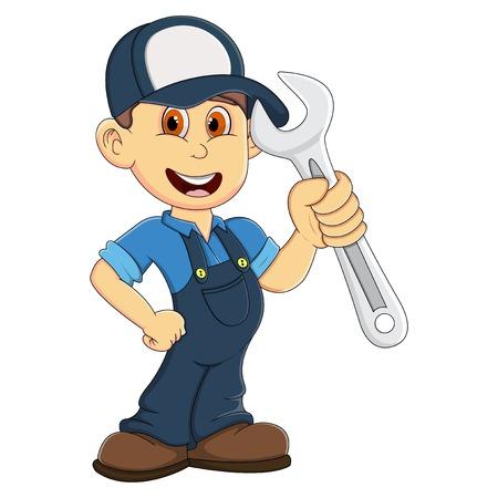 Ikona szczęśliwy mechanik. Ilustracje wektorowe