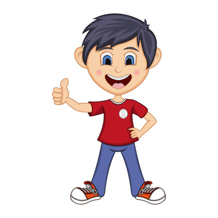 Boy gives thumbs up cartoon - full color