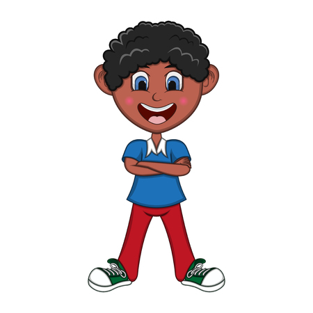 Boy stood with folded arms Cartoon