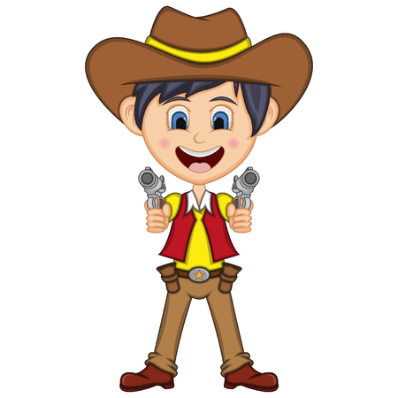Cute cowboy cartoon with gun