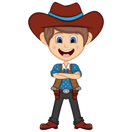 Cute cowboy cartoon folding arm Illustration