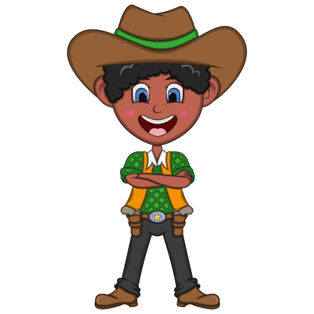 Cute cowboy cartoon illustration. Illustration