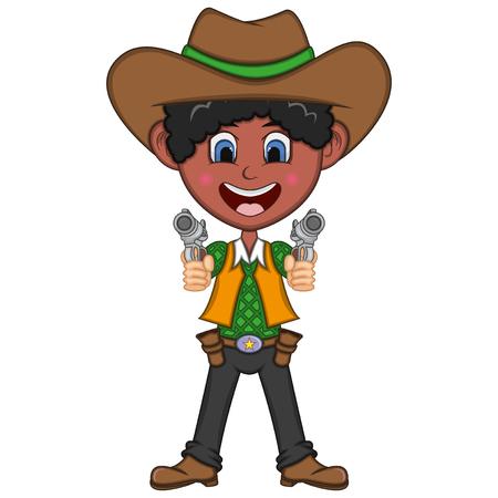 Cute cowboy cartoon illustration. Çizim