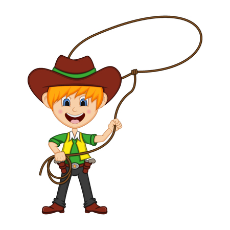 Funny cowboy with rope. Cartoon illustration. Illustration