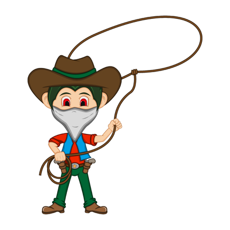 Funny cowboy with mouth mask and rope. Cartoon vector illustration. Illustration
