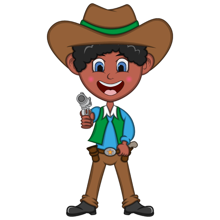 Funny cowboy with gun. Cartoon vector illustration.