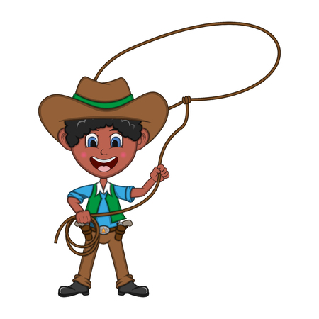 Funny cowboy with rope. Cartoon vector illustration.