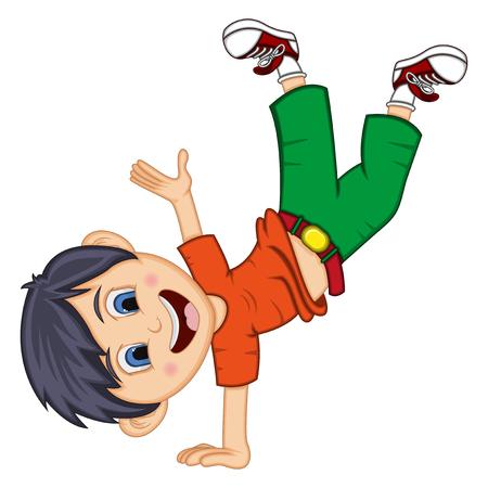 Boy Dancing cartoon with hand stand pose Banco de Imagens - 96427700
