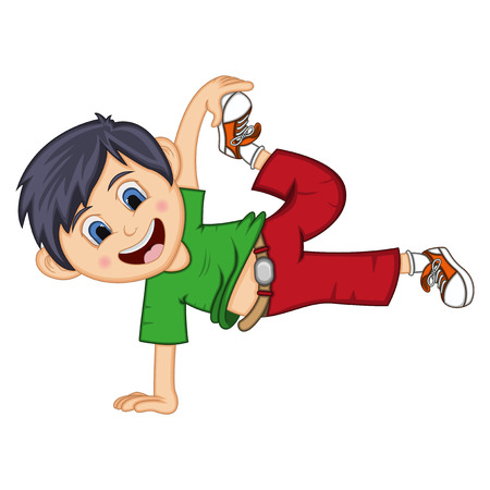 Dancing boy cartoon with floating pose.