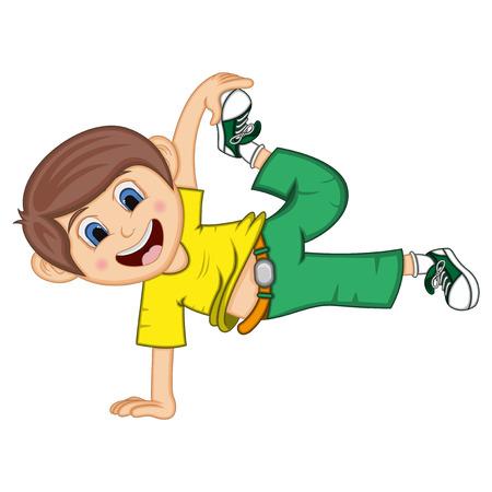 Dansende jongen cartoon met zwevende pose.