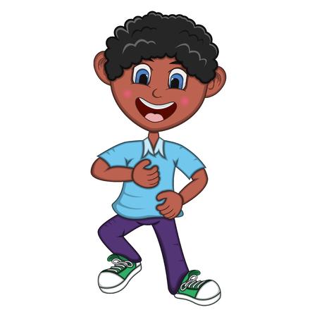 Jongen Cartoon met dansen pose