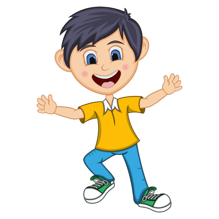 Boy cartoon with dancing pose isolated on plain background