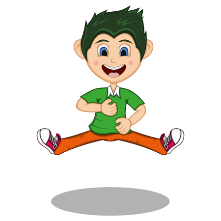 Boy cartoon Jump in Dancing with smile - full color Stock Illustratie
