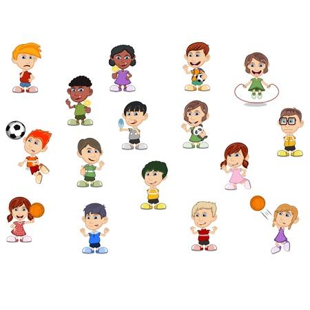 Set cute of children cartoon boy and girl vector illustration.