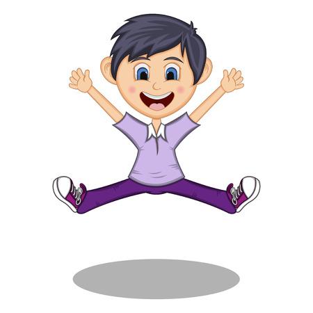Jongetje dansen en springen met glimlach cartoon Vector Illustratie