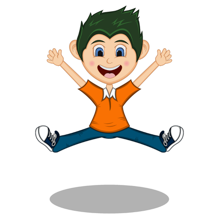 Little boy dancing and jump with smile cartoon