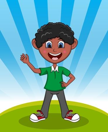 Handsome little boy with background cartoon