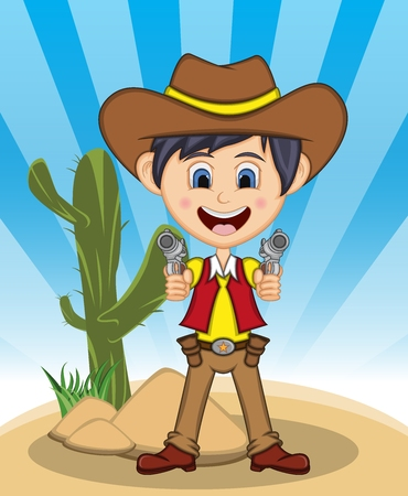Funny cowboy with background in cartoon Illustration.