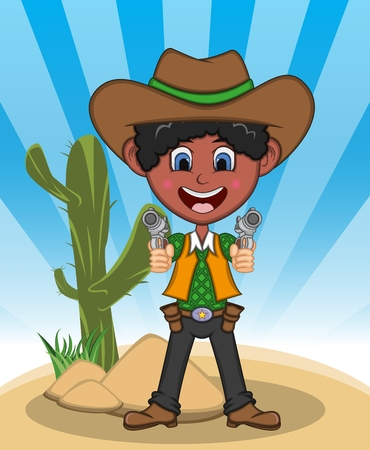 Funny cowboy with gun background cartoon illustration.