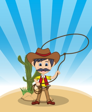 Funny cowboy with rope background cartoon illustration.