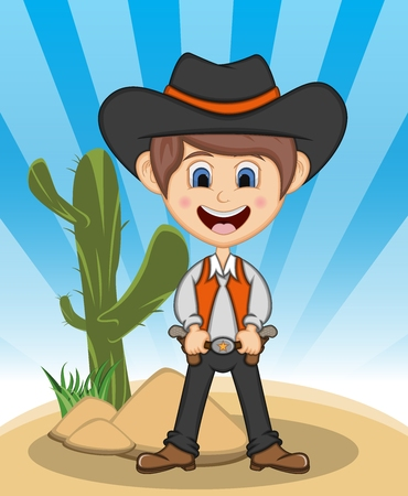 Funny cowboy with background cartoon isolated on blue background.