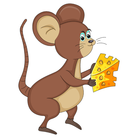 mouse with cheese cartoon vector illustration