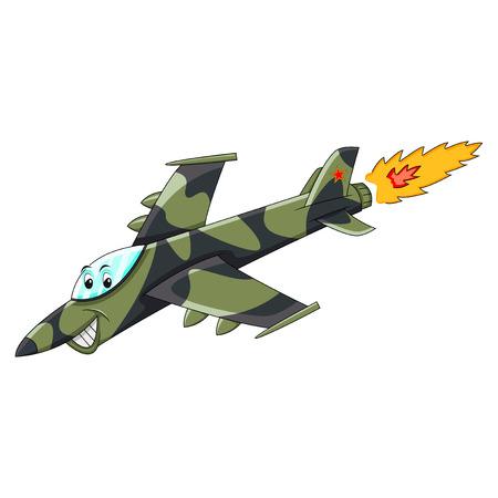 Funny Fighter jet - plane cartoon vector illustration