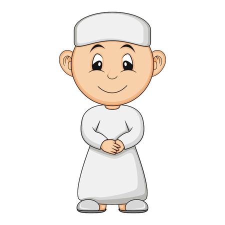 Moslem boy cartoon vector illustration