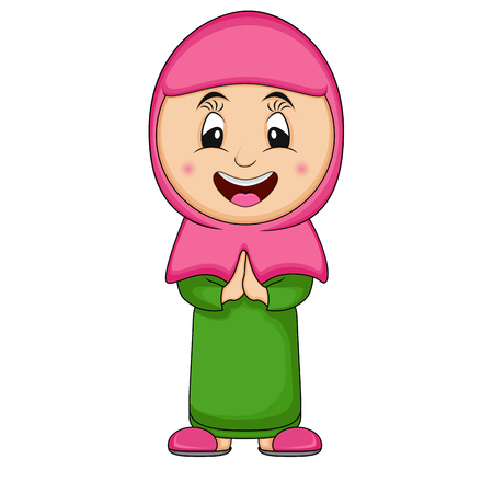 girl muslim - cute and beautiful vector illustration