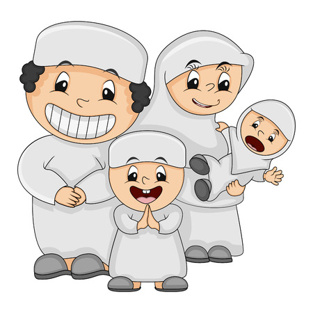 Muslim happy family - father, mother, son and daughter with white clothes cartoon vector illustration Ilustração