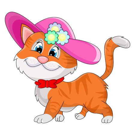 Cat with pink hat funny cartoon vector illustration