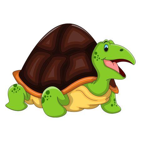 Turtle Funny Cartoon Vector Illustration Vetores