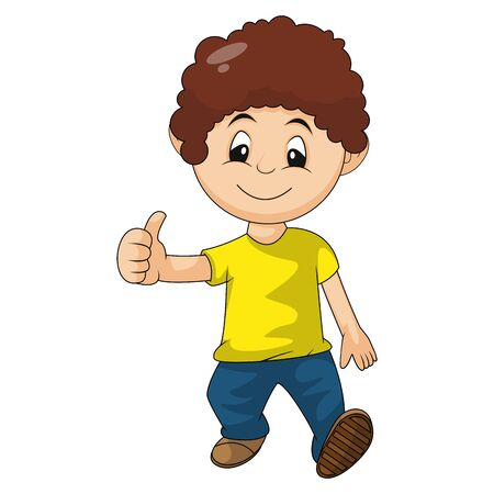 little boy walks with a thumbs up cartoon vector illustration