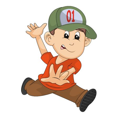 little boy ran seriously cartoon vector illustration